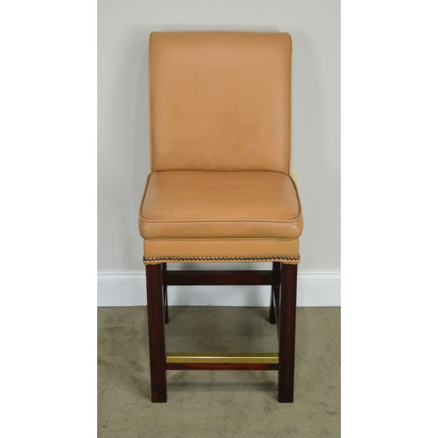 Traditional Fairfield Set 4 Tan Leather Bar Stools For Sale - Image 3 of 12