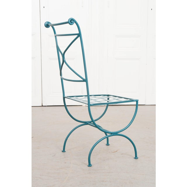 Suite of Eight Early 20th-Century Neoclassical-Style Painted Wrought-Iron Side Chairs For Sale - Image 10 of 13