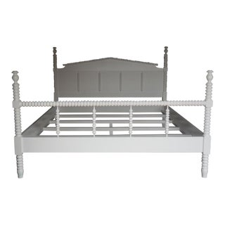 Custom Painted Wood King-Size Bobbin Bed With Spindle Footboard For Sale
