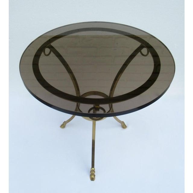 Brass Vintage LaBarge Regency Brass Hoofed & Bronze Glass Gueridon Table For Sale - Image 7 of 13