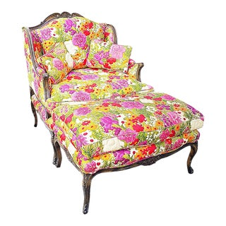 1930s French Louis XV Style Chair and Ottoman - 2 Pieces For Sale
