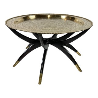 MCM Brass Tray Top Spider Leg Table For Sale