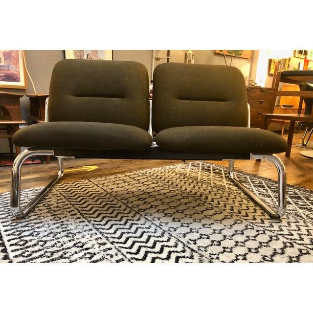 Metal Vintage Steelcase Tandem Bench/Loveseat For Sale - Image 7 of 12
