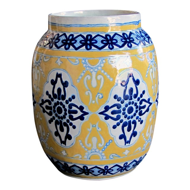 """Large & Good Quality Mexican Mustard Glazed Barrel-Form Pot With Cobalt Blue Decoration; Undersigned With Maker's Mark """"Uriate Talavera Pue., Mexico' For Sale"""