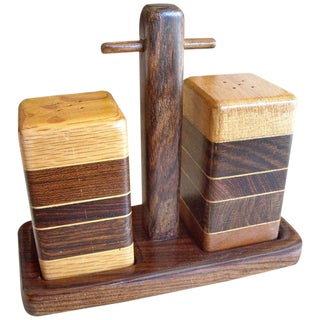 Don Shoemaker Salt and Pepper Set With Tray of Rosewood, Oak and Mixed Woods For Sale