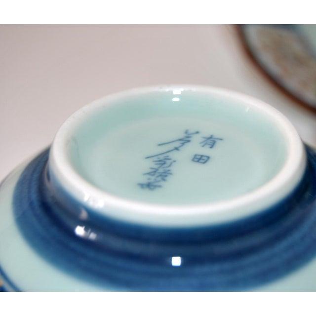 Wood Vintage Cherry Blossom Shaped Celadon Arita Imari Cups, Saucers & Box - Set of 10 For Sale - Image 7 of 9