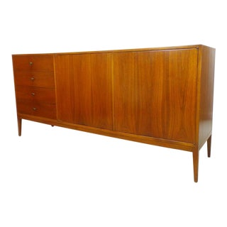 1960s Mid Century Modern Long Low Walnut Credenza Dresser For Sale