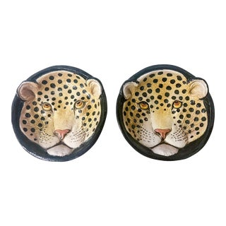 Italian Terracotta Leopard Plates - a Pair For Sale