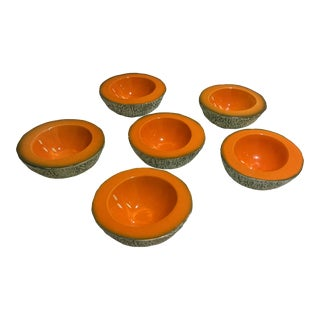 Mid-Century Modern Ed Langbein Italy Melon-Form Bowls- Set of 6 For Sale