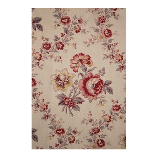 Antique French Red Blue And Yellow Floral Pattern Curtain For Sale