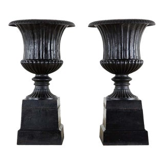 English Cast Iron Neoclassical Style Campana Garden Urns - a Pair For Sale