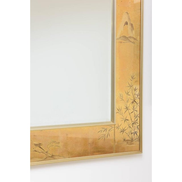 La Barge La Barge Mirror With Eglomise Style Panels Depicting Chinoiserie Scenes in Gold For Sale - Image 4 of 10