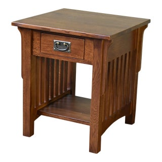 Crafters and Weavers Mission 1 Drawer Crofter End Table - Golden Brown For Sale