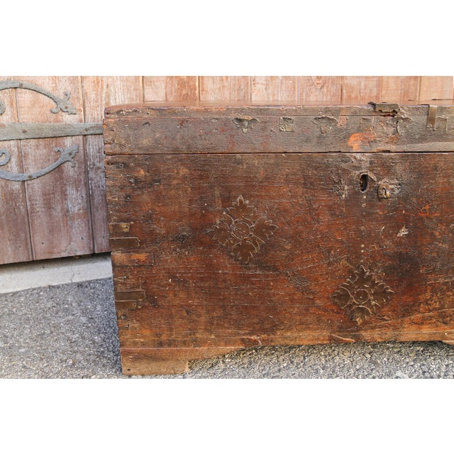 Wood 19th Century Wood Dowry Trunk For Sale - Image 7 of 9