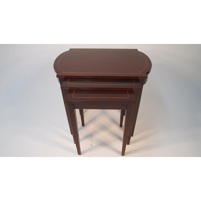 1960s Georgian Mahogany Nesting Tables - Set of 3 For Sale - Image 10 of 10