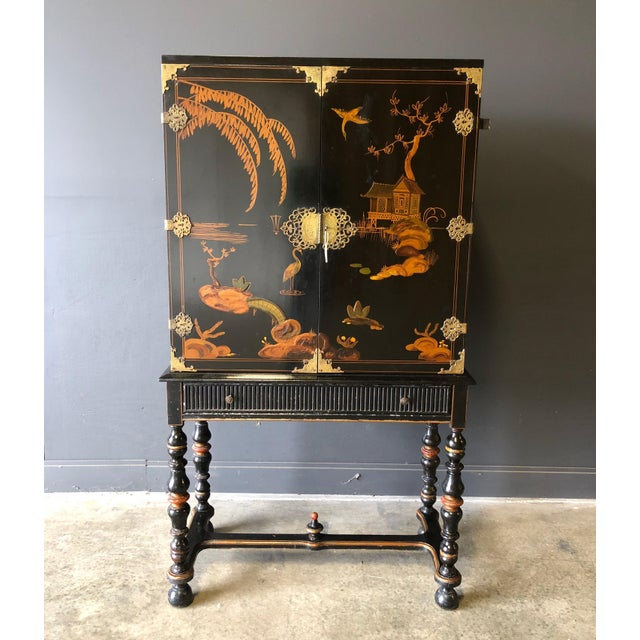 1920s Antique Black Lacquer Chinese Cabinet For Sale - Image 11 of 11