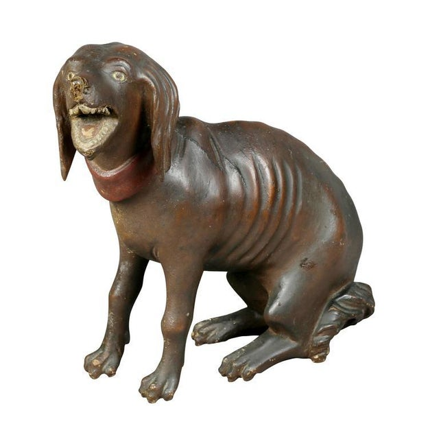 Unusual Painted and Carved Wood Dog For Sale - Image 10 of 10
