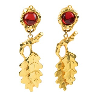 Ines De La Fressange Paris Dangling Clip Earrings Oak Leaf Amber Resin Cabochon For Sale