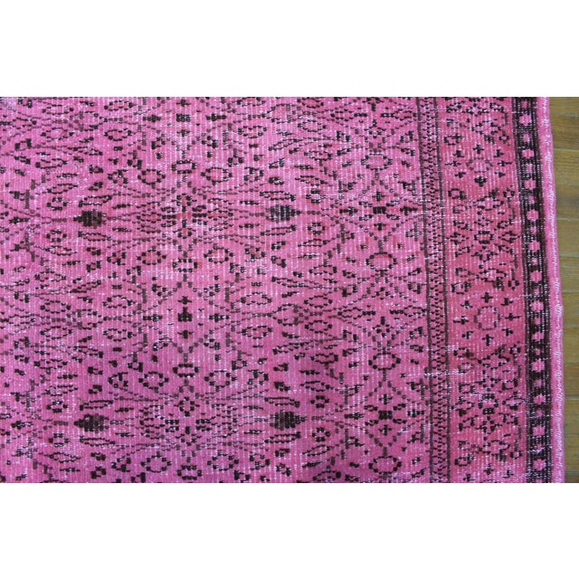 """5'9"""" X 9' Turkish Handmade Pink Overdyed Rug For Sale In San Diego - Image 6 of 7"""
