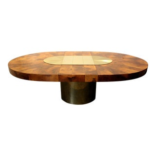 Paul Evans for Directional Brass and Wood Sunburst Dining Table For Sale
