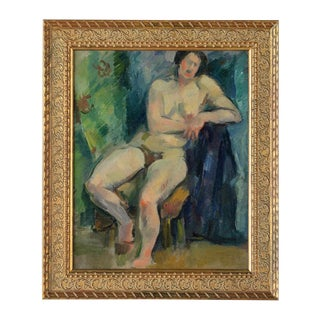 "French Fauvist School ""Sitting Nude"" Oil Painting"