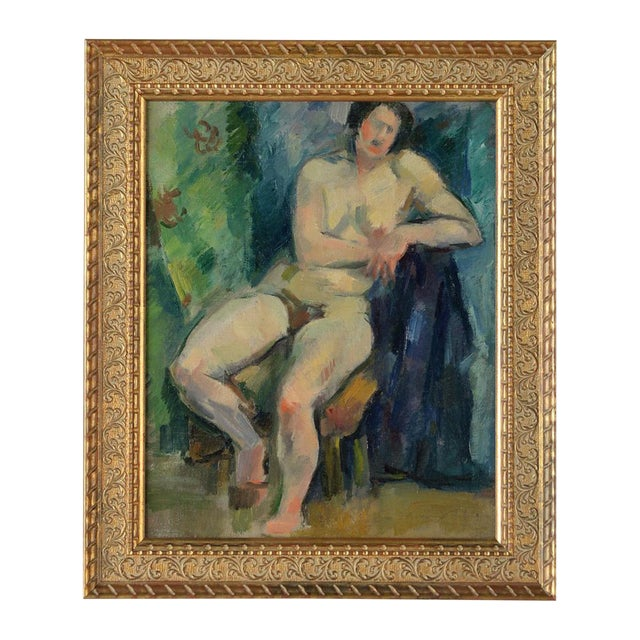 """French Fauvist School """"Sitting Nude"""" Oil Painting For Sale"""