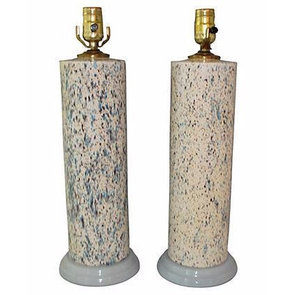 Midcentury Spatter-Painted Lamps - Pair - Image 1 of 4