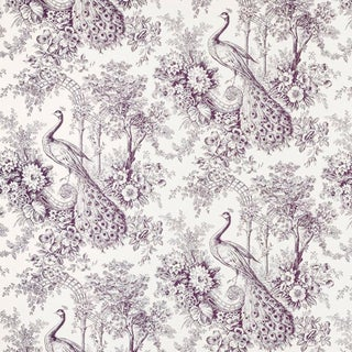 Sample, Suzanne Tucker Home Peacock Toile Print Fabric in Mulberry For Sale