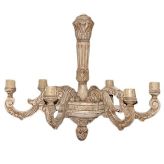 French Carved Wood Chandelier For Sale