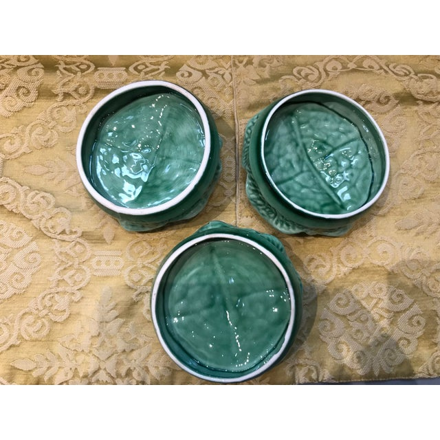 Green Vintage Secla Majolica Green Cabbage Covered Soup Bowls - Set of 3 For Sale - Image 8 of 12