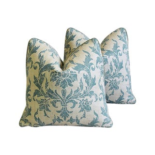 "Designer Pintura Studios Hand-Printed Feather/Down Pillows 19"" Square - Pair For Sale"