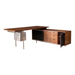 Mid Century Walnut Executive Desk and Return by George Nelson for Herman Miller For Sale