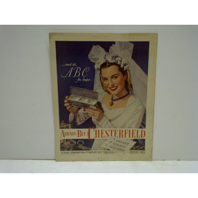 Vintage Chesterfield Cigarettes Advertising Magazine Page - Image 2 of 3