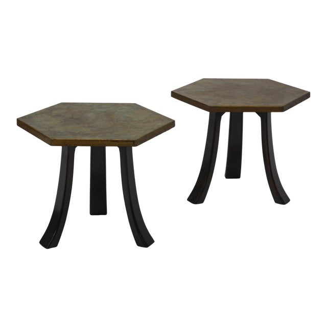 Pair of Harvey Probber Acid-Etched Bronze Tables For Sale