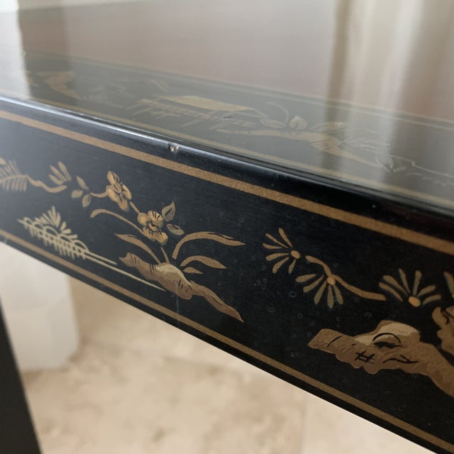 1960s Vintage Drexel Heritage Et Cetera Chinoiserie Lacquer End Side Squared Table For Sale - Image 5 of 13