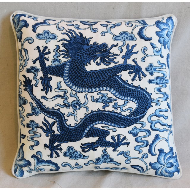 """Scalamandre Italian Chinoiserie Scalamandre Dragon Feather/Down Pillow 19"""" Square For Sale - Image 4 of 8"""