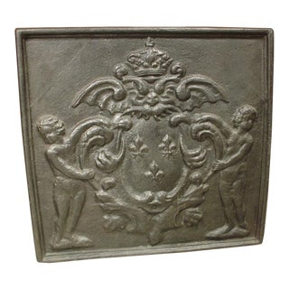 Antique Cast Iron Fireback, France 1800s For Sale