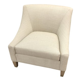 Transitional Beige Fabric Club Chair For Sale