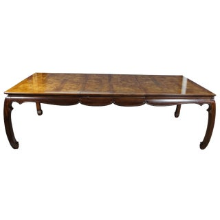 Universal Furniture Mahogany Burled Ashwood Asian Dining Table Chinoiserie Ming For Sale