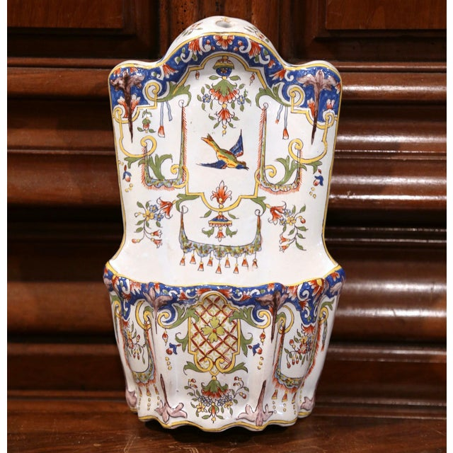 19th Century French Hand Painted Wall Hanging Flower Holder from Rouen For Sale - Image 5 of 9