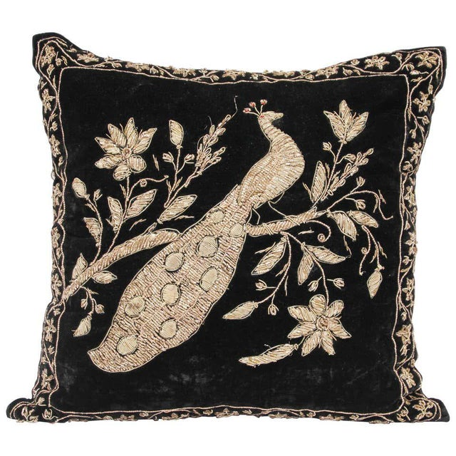 Black Velvet Throw Pillow Embroidered with Metallic Moorish Gold Threads For Sale - Image 11 of 11