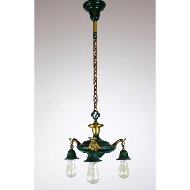 3 Light Pan Fixture in Gold & Green. - Image 4 of 8