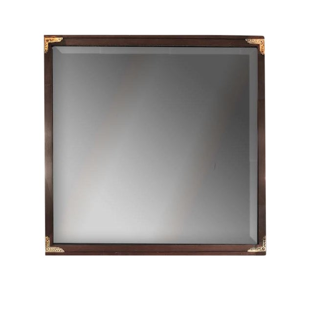 1950s Arts and Crafts John Van Koert for Drexel Cherrywood Campaign Style Wall Mirror For Sale