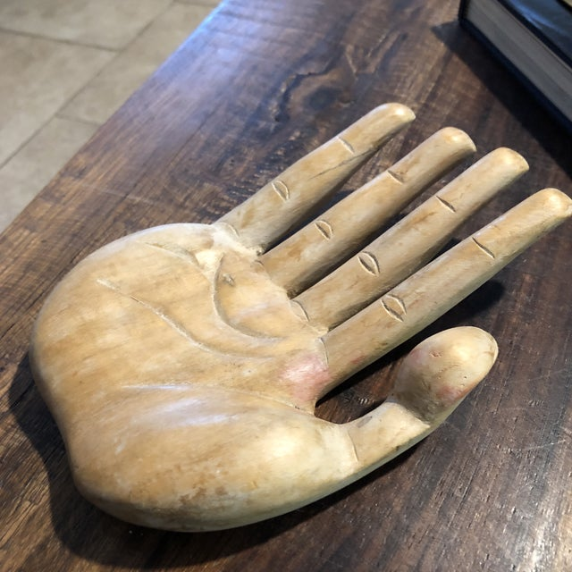 1950s Vintage Bohemian Carved Wood Human Hand Sculpture For Sale - Image 5 of 7