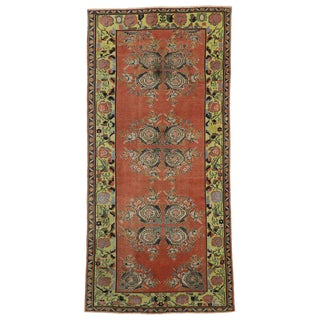 Vintage Turkish Oushak Gallery Rug Runner - 4'6 X 9'6 For Sale