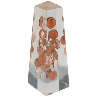 Modern Lucite and Copper Penny Obelisk, Ca. 1970s For Sale