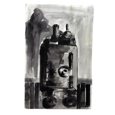 Abstract Original Black & White Painting - Image 1 of 3