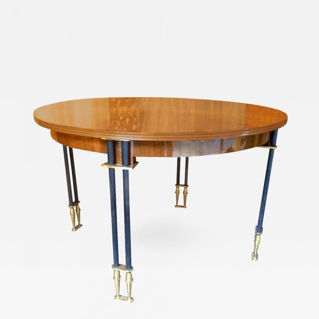 Metal Jules Leleu Documented, 1950s, Design Round Extendable Dining Table For Sale - Image 7 of 7