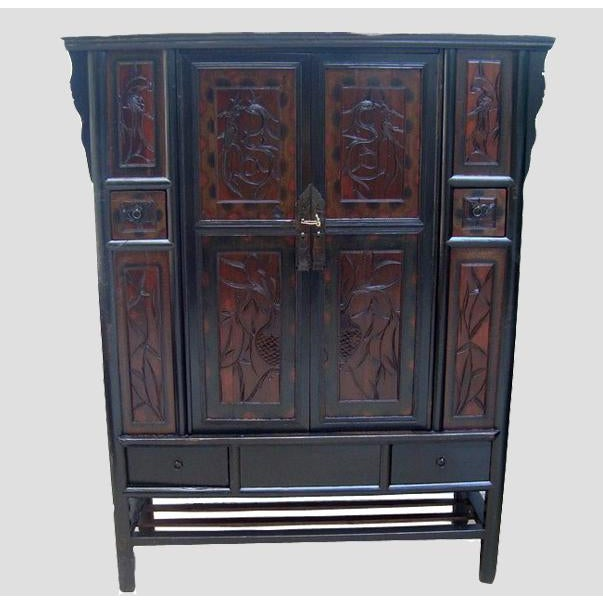 Featuring two intricately carved panel doors and four rectangular panels on  each side, this antique - Antique Carved Panel Door Chinese Cabinet Chairish