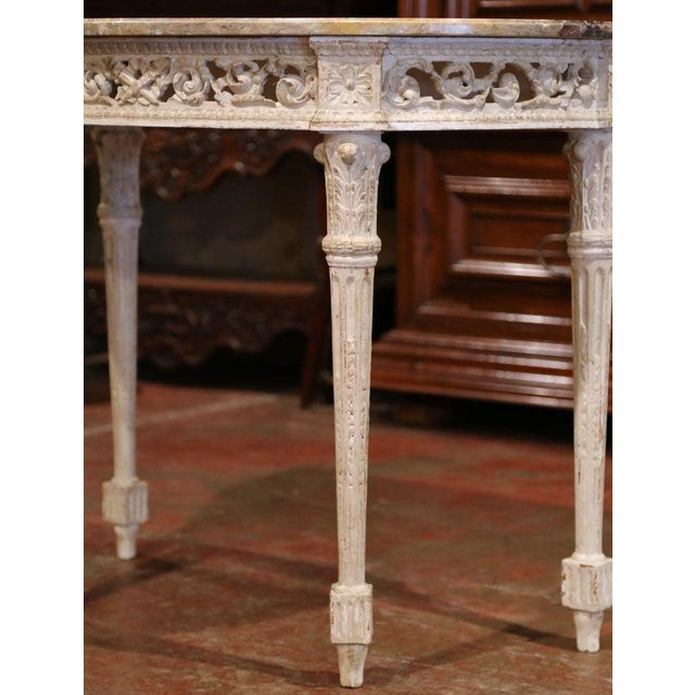 Late 19th Century Pair of 19th Century Louis XVI Carved Painted Demilune Consoles With Marble Top For Sale - Image 5 of 10